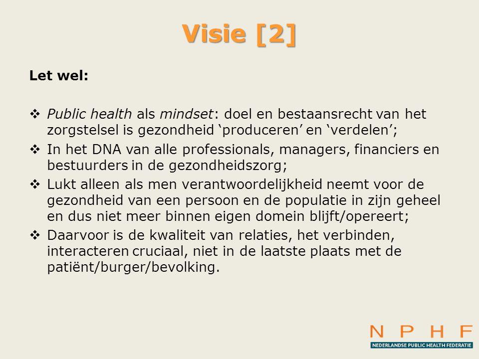 Visie [2] Let wel: Public health als mindset: doel en bestaansrecht van het zorgstelsel is gezondheid 'produceren' en 'verdelen';